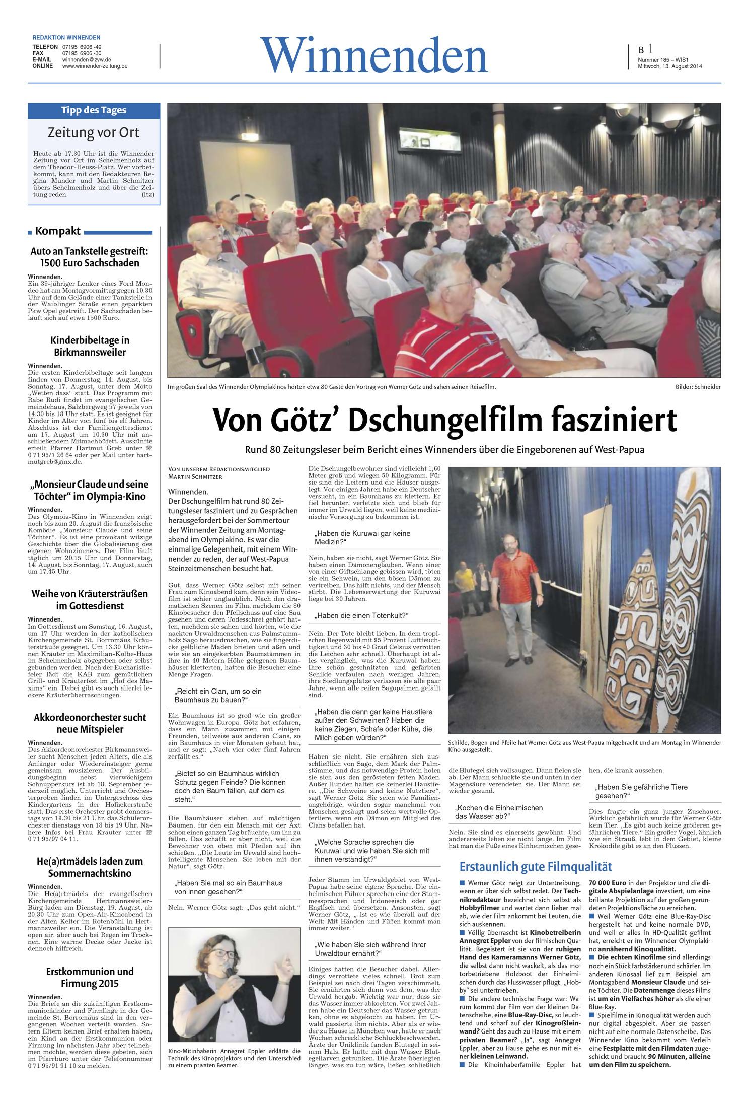 Winnender Zeitung 130814